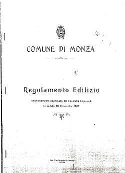 Breve storia dell 39 urbanistica a monza fine ottocento for Regolamento edilizio milano